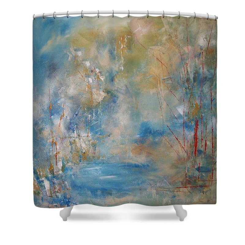 Abstract Shower Curtain featuring the painting A Touch Of Red by Robin Monroe