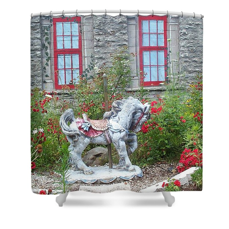 Carousel Pony Shower Curtain featuring the photograph A Treasure In A Garden by Barbara McDevitt