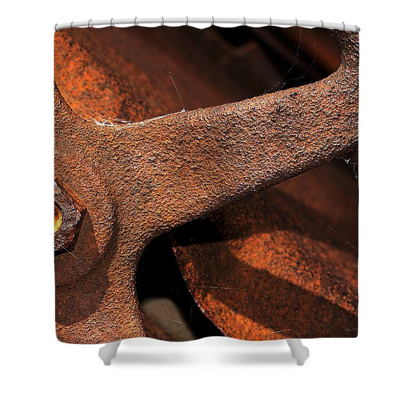 Wheel Shower Curtain featuring the photograph A Very Rusty Steering Wheel by Phyllis Denton