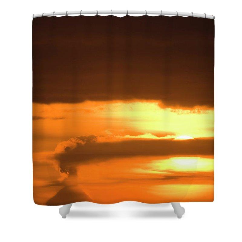 Alaska Shower Curtain featuring the photograph A Vocano Erupts In Kachemak Bay by Scott Dickerson