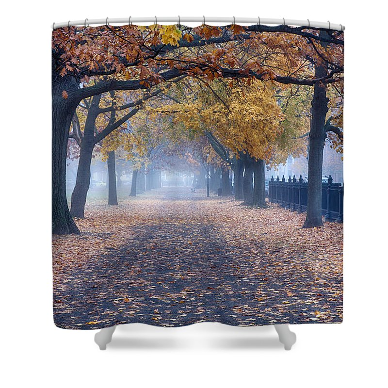Salem Shower Curtain featuring the photograph A Walk In Salem Fog by Jeff Folger