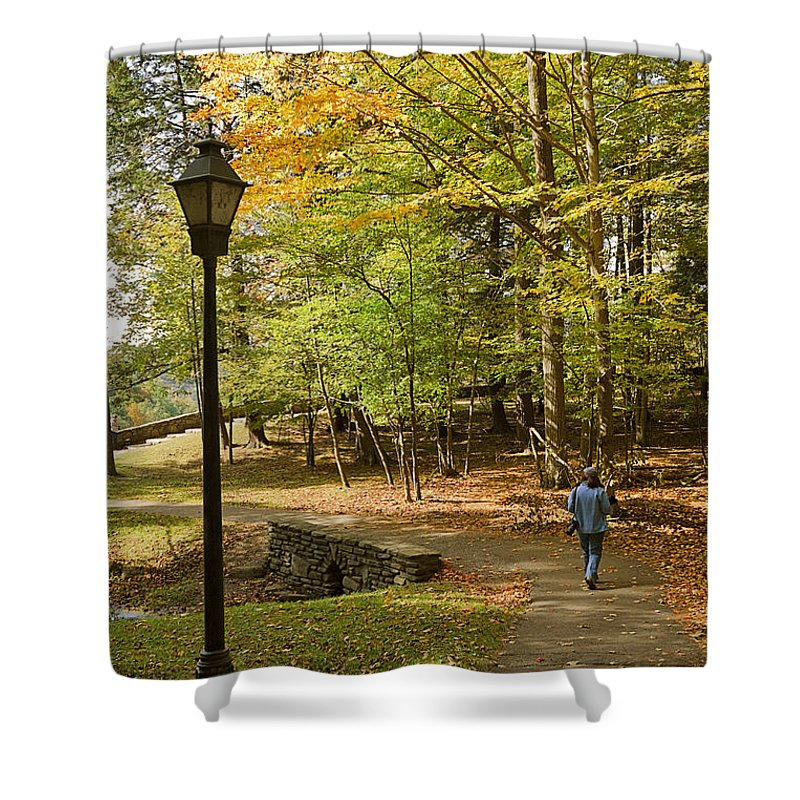Landscape Shower Curtain featuring the photograph A Walk In The Woods by Louise Heusinkveld