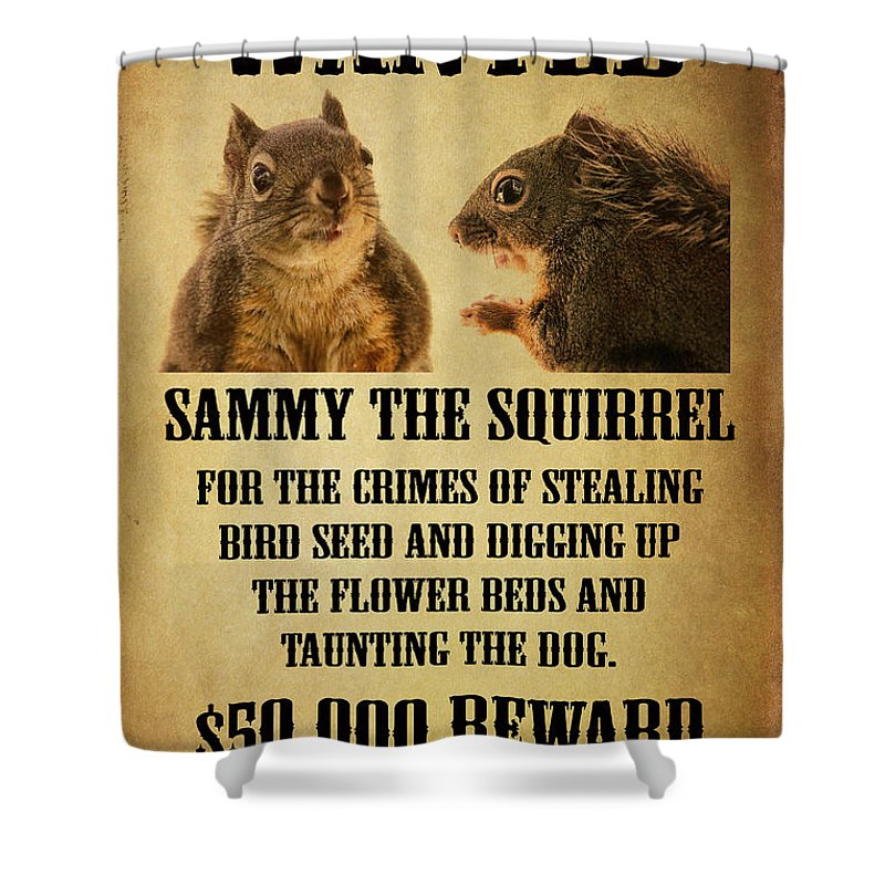 Squirrels Shower Curtain Featuring The Photograph A Wanted Squirrel By Peggy Collins