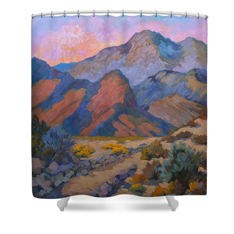 Spring Shower Curtain featuring the painting A Warm Spring Walk In The Cove by Diane McClary