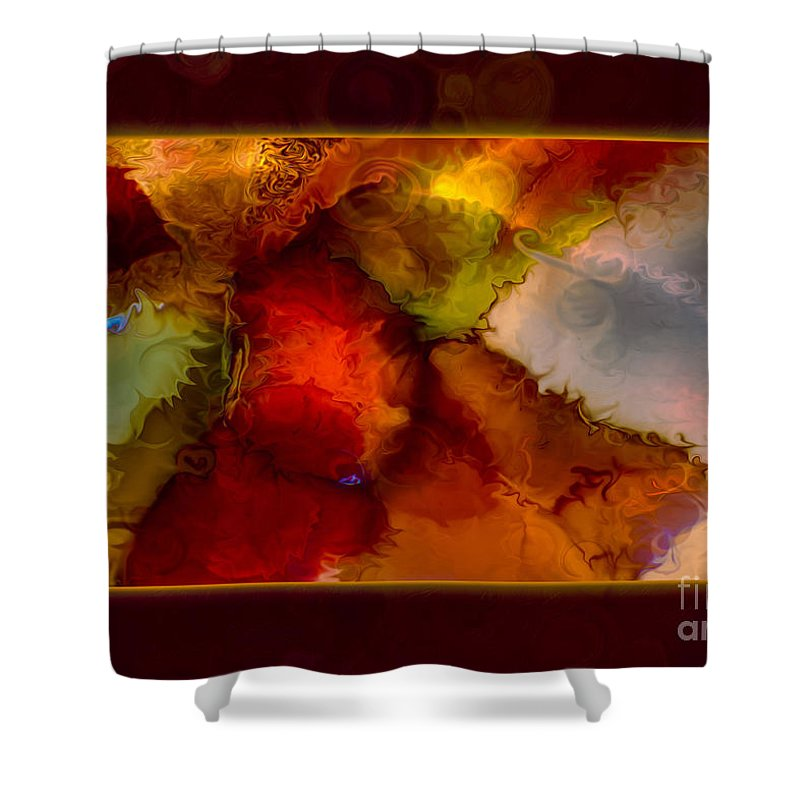 12.11 Shower Curtain featuring the painting A Warrior Spirit Abstract Healing Art by Omaste Witkowski