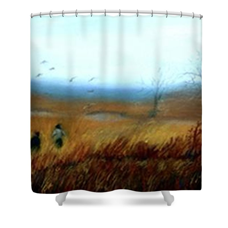 Figures Shower Curtain featuring the painting A Winter Walk by Gail Kirtz