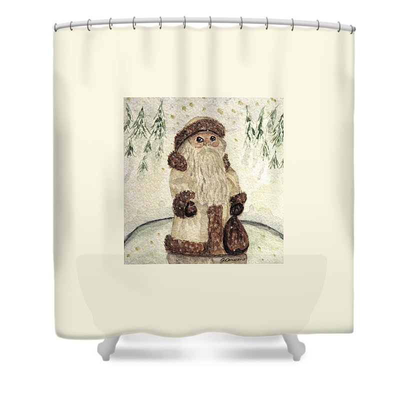 Santa Claus Shower Curtain featuring the painting A Woodland Santa by Angela Davies