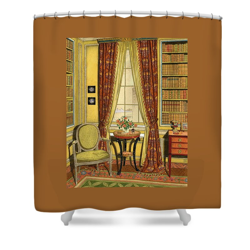 A Yellow Library With A Vase Of Flowers Shower Curtain For Sale By