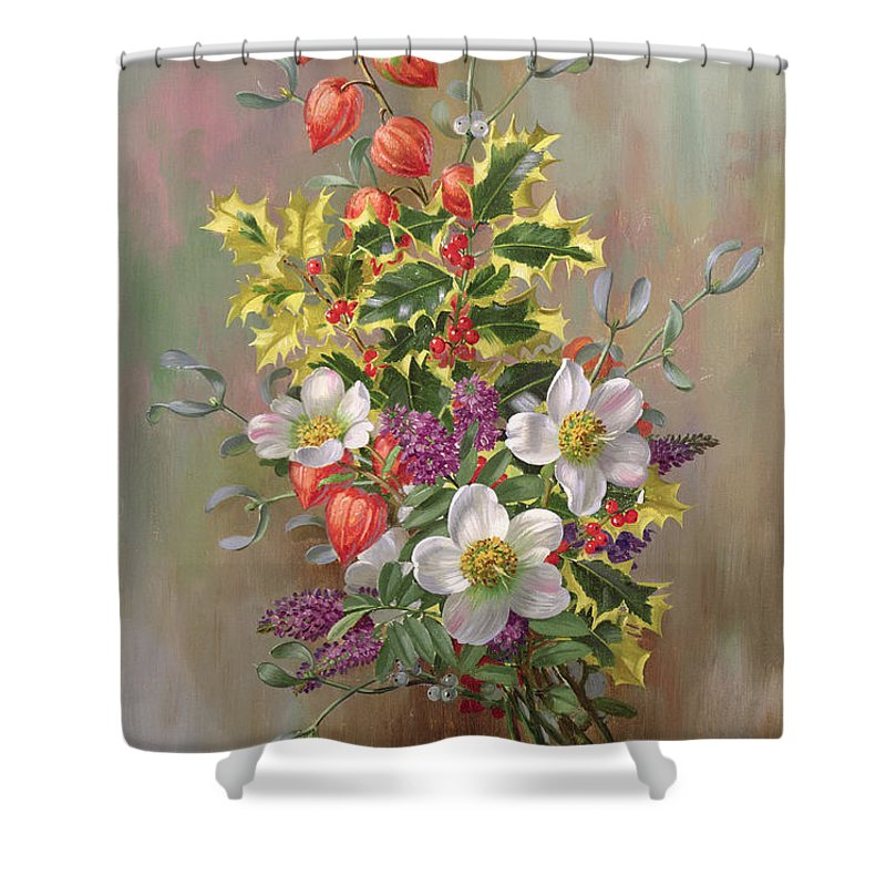 Still Life; Flowers; Bouquet; Chinese Lantern; Variegated Holly; Mistletoe; Berry; Christmas Shower Curtain featuring the painting A Yuletide Posy by Albert Williams