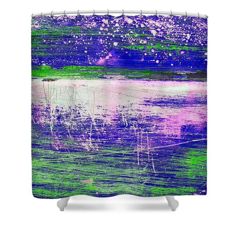 Abstract Shower Curtain featuring the mixed media Aa3 1 Paint Textures Abstract Collage by Brian Raggatt