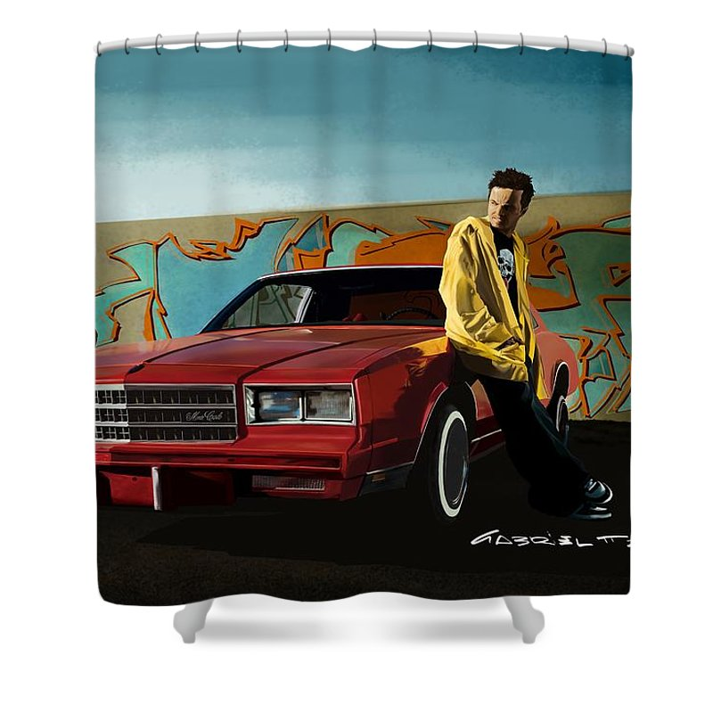 Aaron Paul Shower Curtain featuring the digital art Aaron Paul as Jesse Pinkman @ TV serie Breaking Bad by Gabriel T Toro