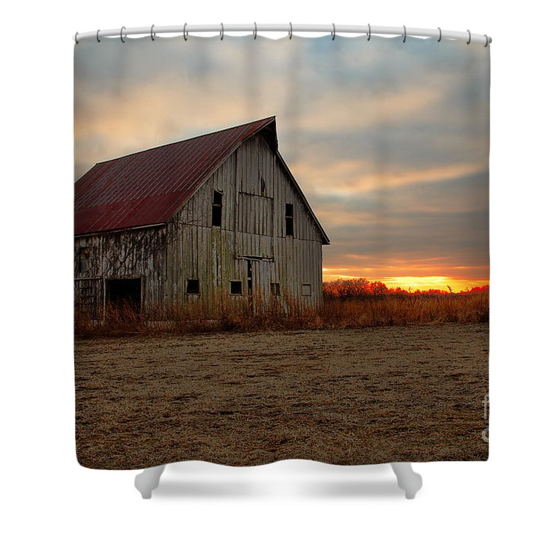 Morris Photography Shower Curtain featuring the photograph Abanded Barn At Sunset by Terri Morris