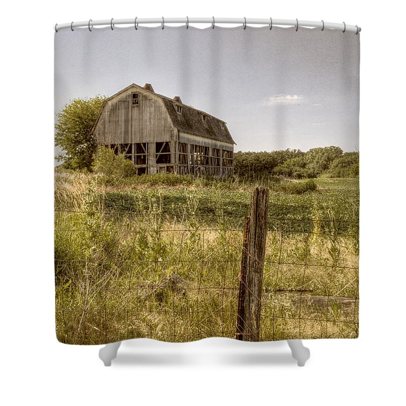Field; Pasture; Farm; Grasses; Barn; Outside; Outdoors; Day; Nature; Vintage; Old; Sky; Rural; Land; Abandoned; Damaged; Empty; Broken; Weeds; Worn; Weathered; Fence; Post; Barbed Wire; Protected; Enclosed Shower Curtain featuring the photograph Abandoned Farm by Margie Hurwich