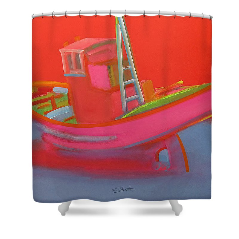 Fishing Shower Curtain featuring the painting Abandoned Red Fishing Trawler by Charles Stuart