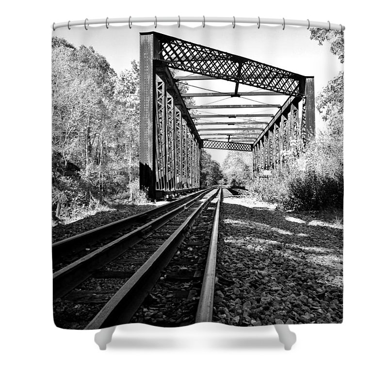 Landscape Shower Curtain featuring the photograph Abandoned Tracks by CJ Rhilinger