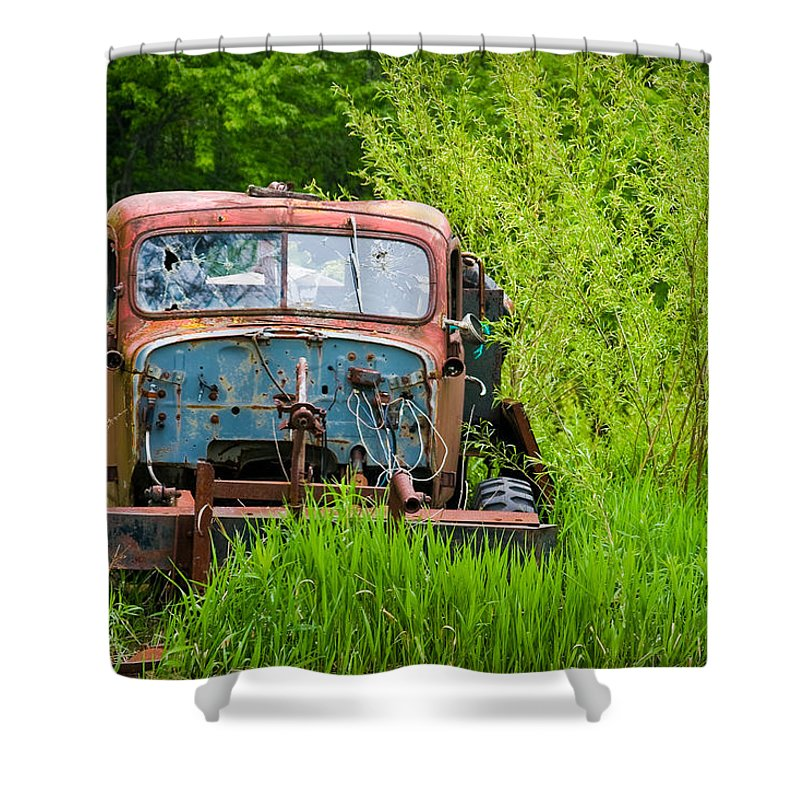 3scape Photos Shower Curtain featuring the photograph Abandoned Truck in Rural Michigan by Adam Romanowicz