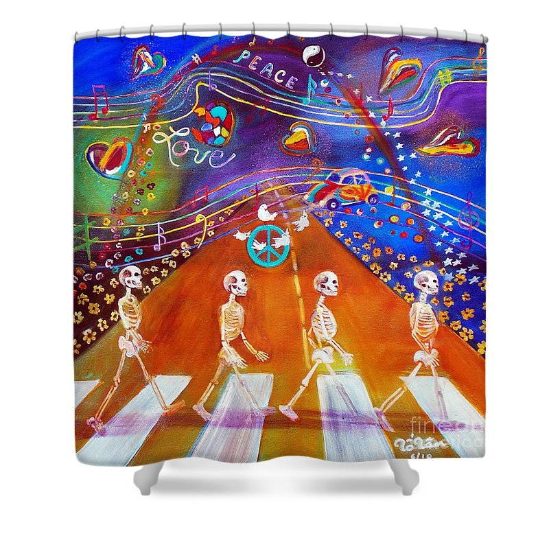 Halloween Shower Curtain featuring the painting Abbey Road In 50 Years by To-Tam Gerwe
