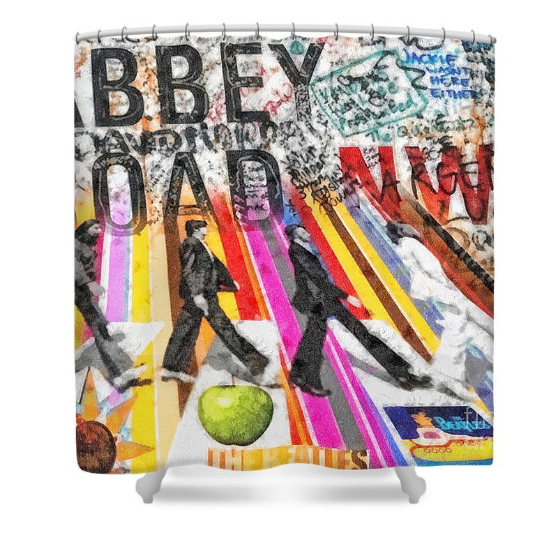 Abbey Road Shower Curtain featuring the mixed media Abbey Road by Mo T