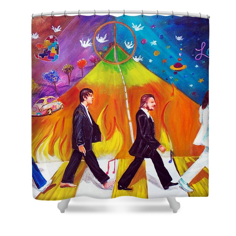 The Beatles Shower Curtain featuring the painting Abbey Road by To-Tam Gerwe