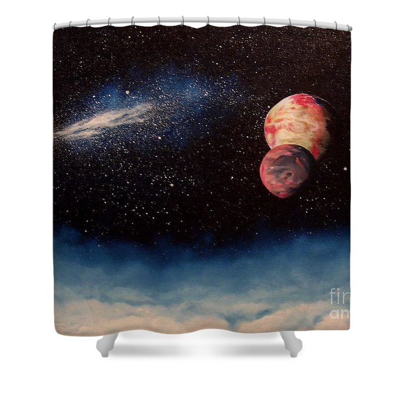 Landscape Shower Curtain featuring the painting Above Alien Clouds by Murphy Elliott