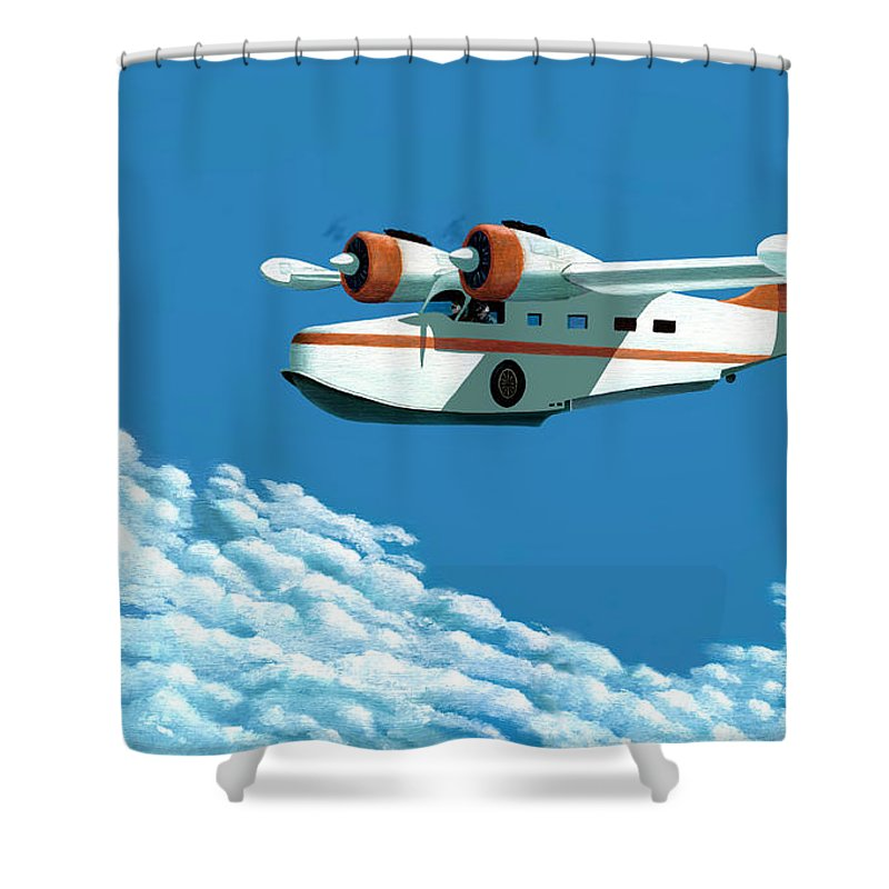 G-21 Shower Curtain featuring the painting Above it all the Grumman Goose by Gary Giacomelli