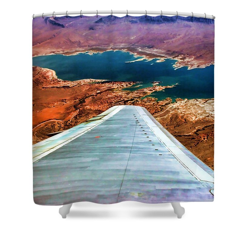 Lake Mead Shower Curtain featuring the photograph Above Lake Mead By Diana Sainz by Diana Raquel Sainz