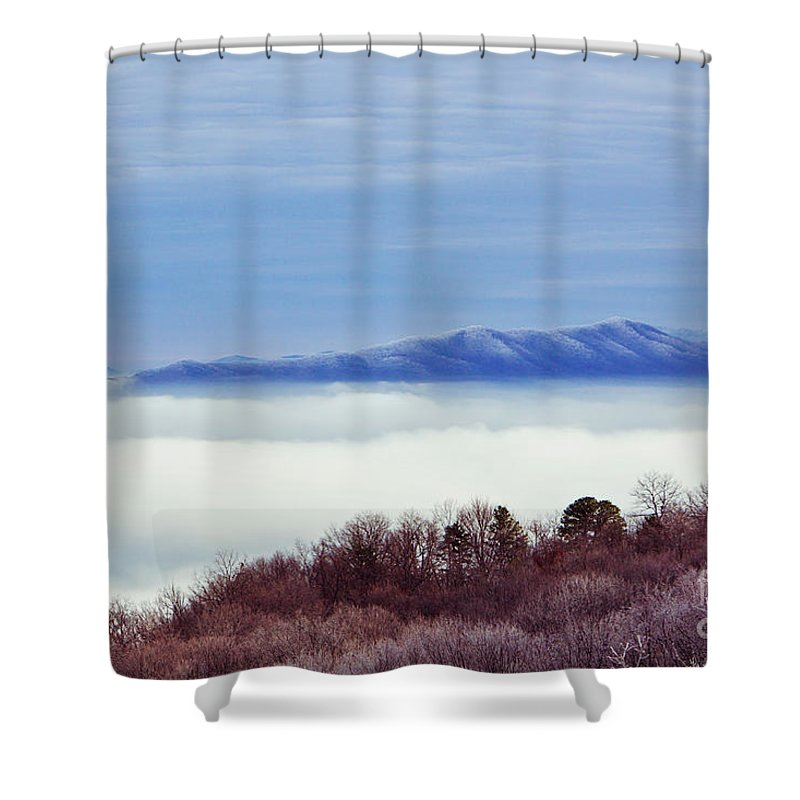 Mountain Shower Curtain featuring the photograph Above The Clouds by Joan McCool