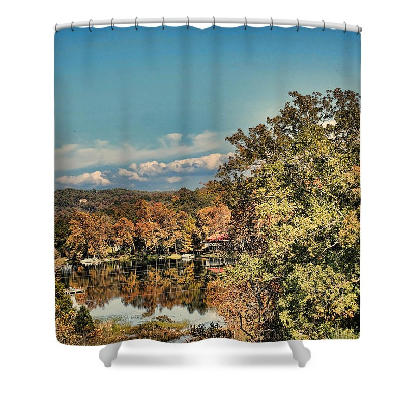 Lake Shower Curtain featuring the photograph Above The Lake by Rick Friedle