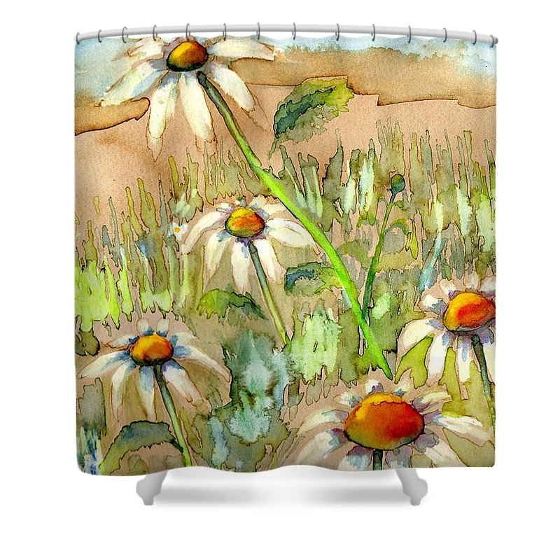 Daisies Shower Curtain featuring the painting Above The Rest by Diana Cardosi-Bussone