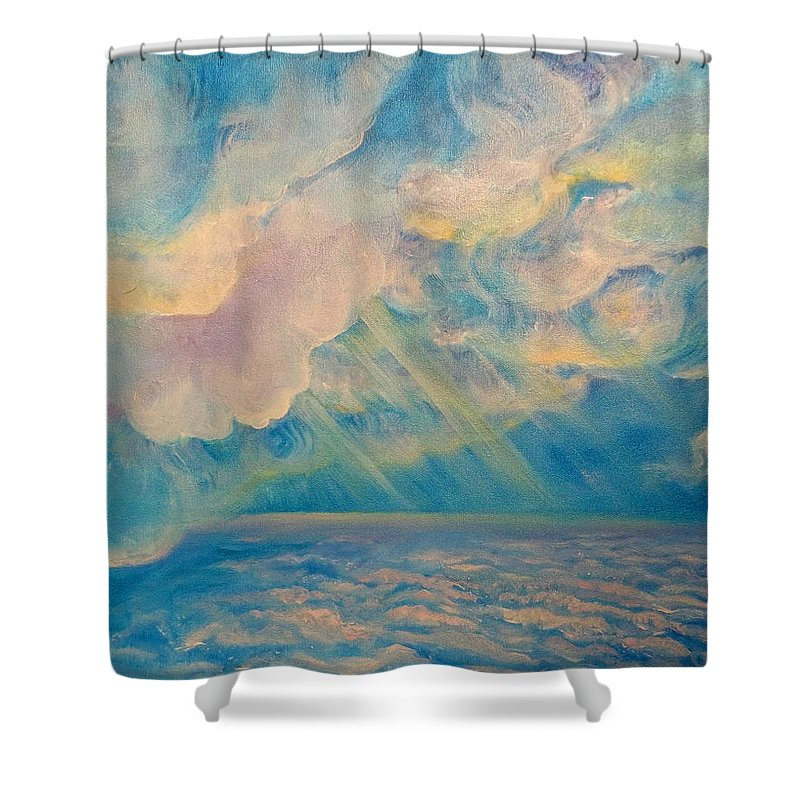 Clouds Shower Curtain Featuring The Painting Above The Sun Splashed Clouds  By Anne Cameron Cutri