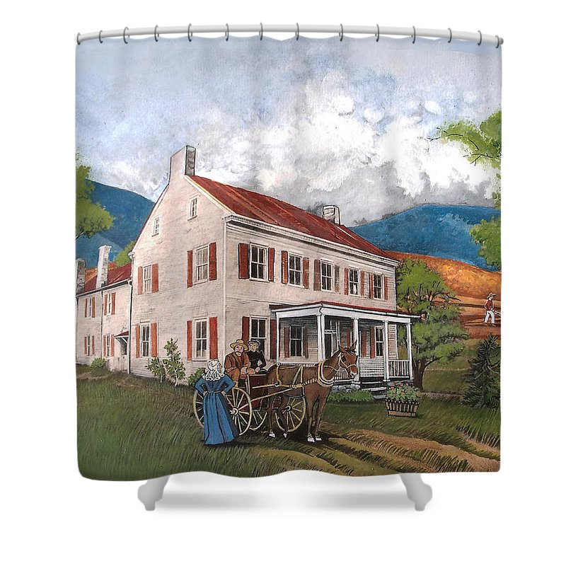 Abraham Lincoln Shower Curtain featuring the painting Abraham Lincoln's Ancesteral Home by Joan Shaver