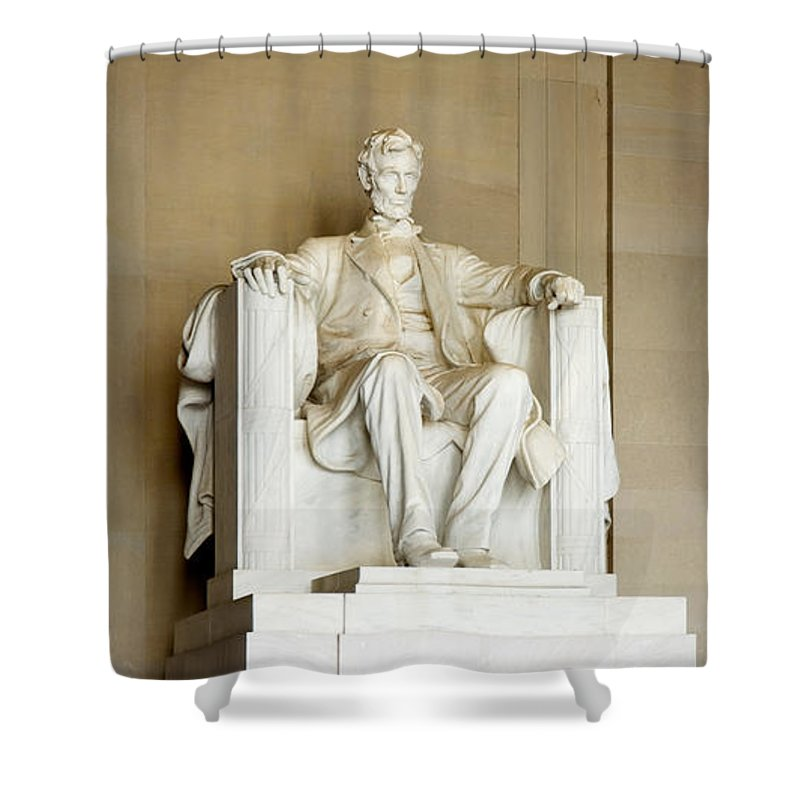 Photography Shower Curtain featuring the photograph Abraham Lincolns Statue In A Memorial by Panoramic Images