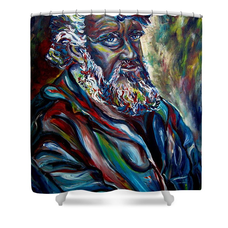 Abraham Patriarh Shower Curtain featuring the painting Abraham Patriarch by Carole Spandau