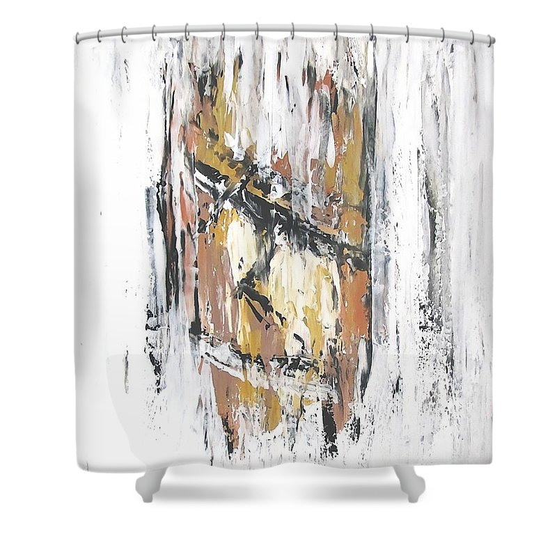 Graphics Shower Curtain featuring the painting Rapanui 474 - Marucii by Marek Lutek