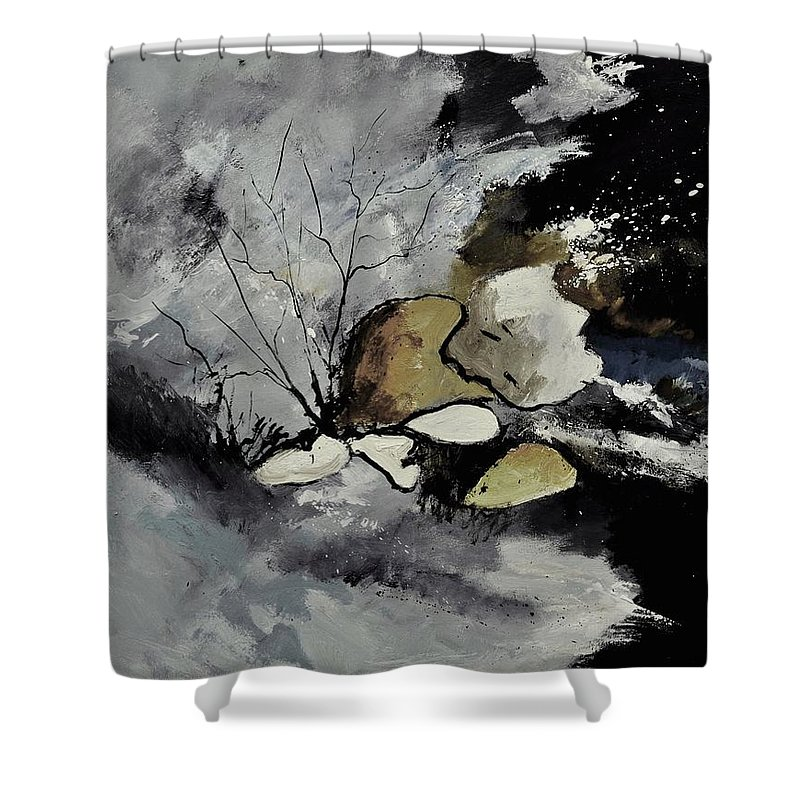 Abstract Shower Curtain featuring the painting Abstract 1189963 by Pol Ledent