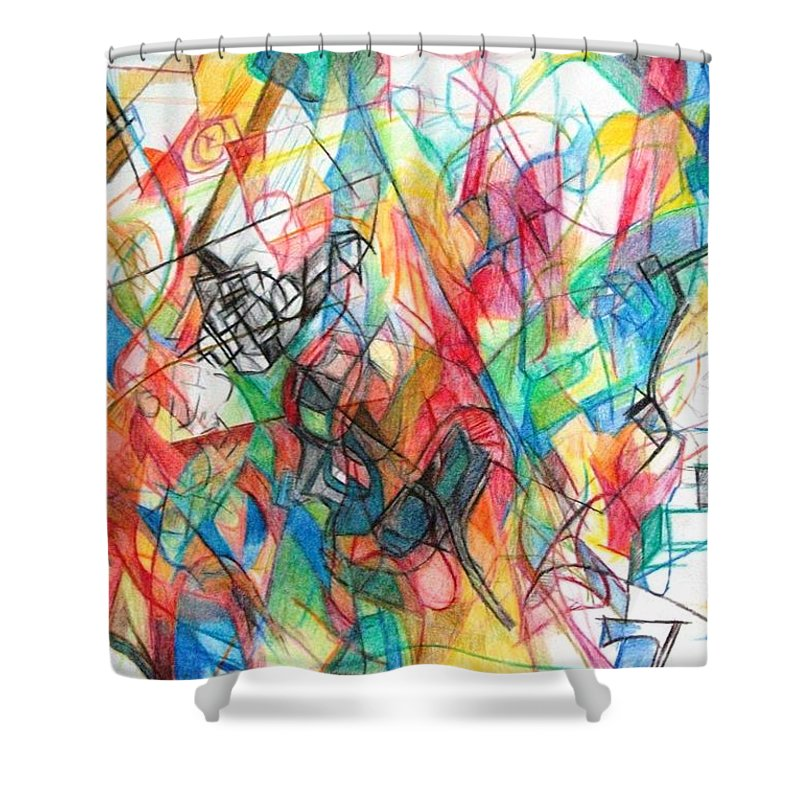 Torah Shower Curtain featuring the drawing Abstract Art Focused Inward Towards The Divine 4 by David Baruch Wolk