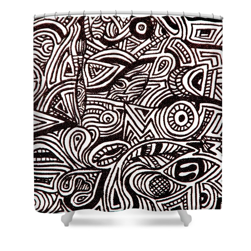 Abstract Black And White Ink Line Drawing Shower Curtain