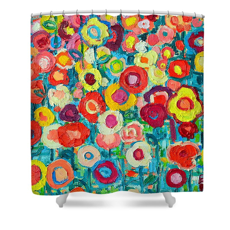 Abstract Shower Curtain Featuring The Painting Colorful Wildflowers By Ana Maria Edulescu