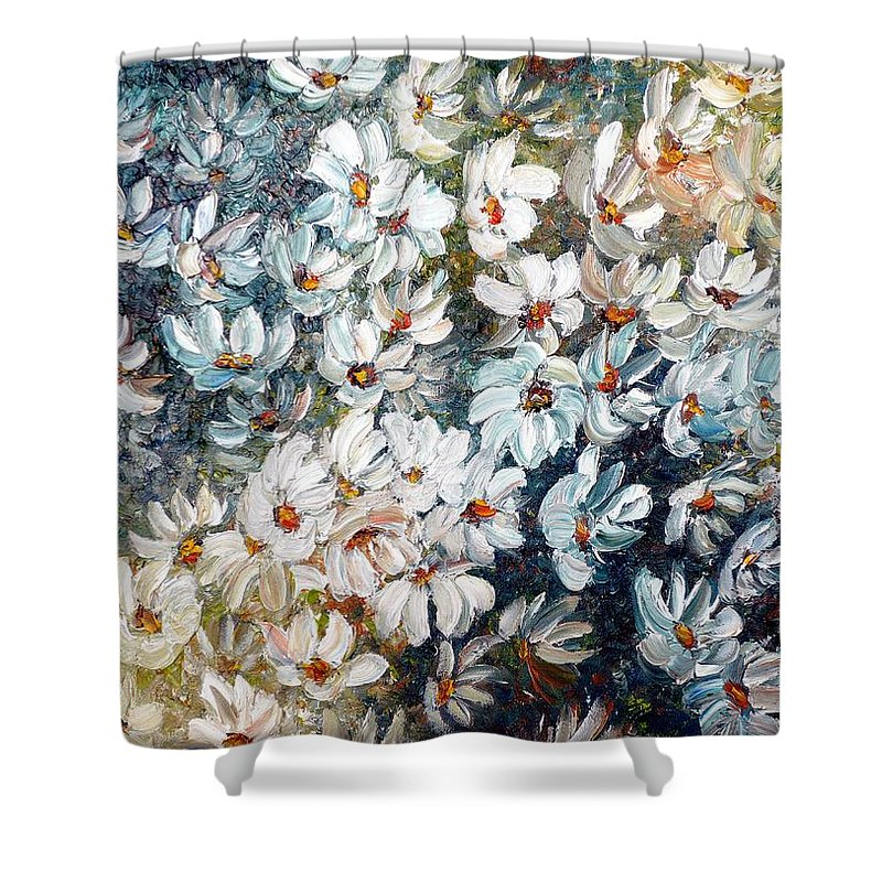 White Frame Shower Curtain featuring the painting Abstract Daisy Remix by Karin Dawn Kelshall- Best