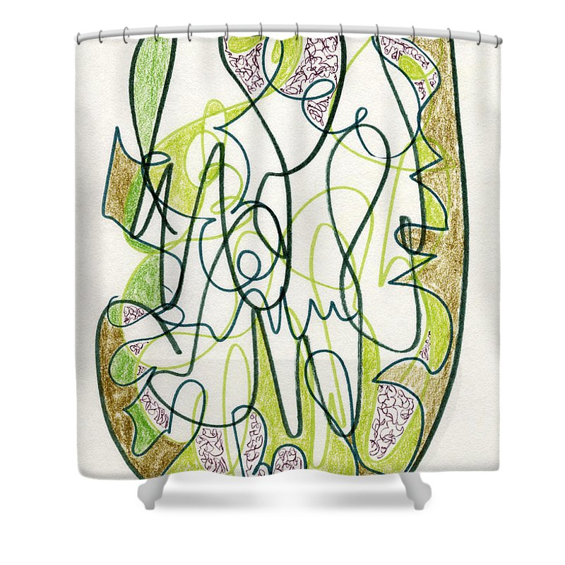 Abstract Shower Curtain featuring the drawing Abstract Drawing Forty-four by Lynne Taetzsch