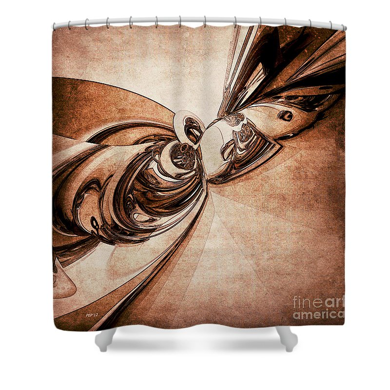 Abstract Shower Curtain featuring the digital art Abstract Form 2 by Phil Perkins