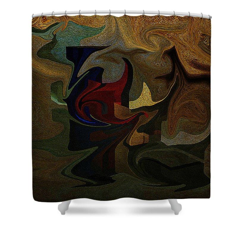 Geometries Shower Curtain featuring the digital art Geometries by Ramon Martinez