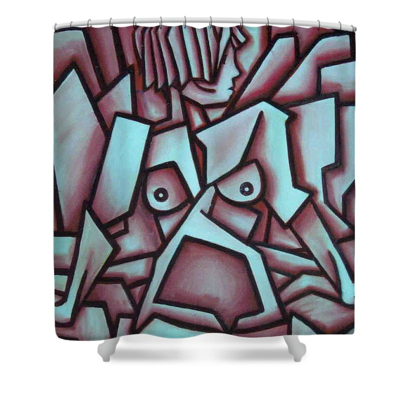 Abstact Shower Curtain featuring the painting Abstract Girl by Thomas Valentine