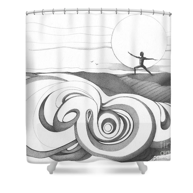 Swirl Shower Curtain featuring the drawing Abstract Landscape Art Black And White Yoga Zen Pose Between The Lines By Romi by Megan Duncanson
