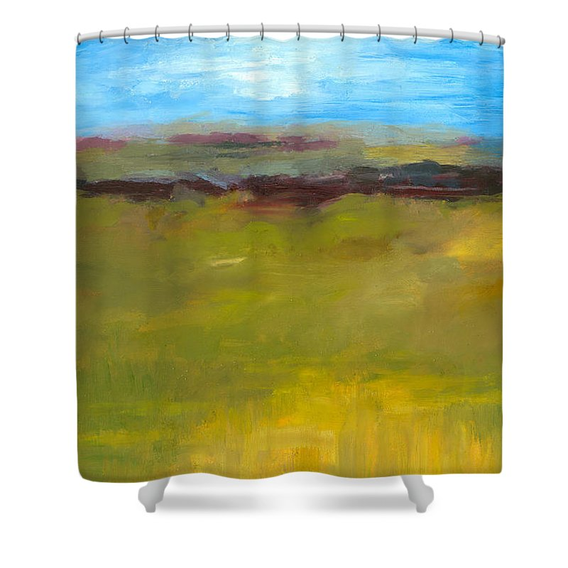 Abstract Expressionism Shower Curtain featuring the painting Abstract Landscape - The Highway Series by Michelle Calkins