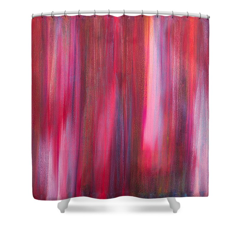 Abstract Shower Curtain Featuring The Painting No 8 Verus Amor Esse Aeternam By Brian Broadway