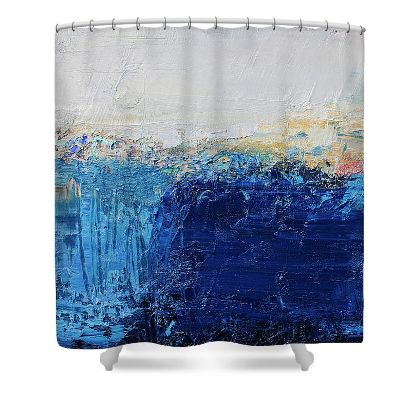 Oil Painting Shower Curtain featuring the photograph Abstract Painted Blue Art Backgrounds by Ekely