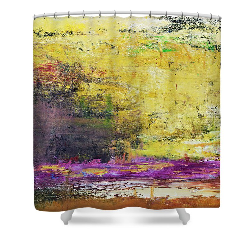 Oil Painting Shower Curtain featuring the photograph Abstract Painted Yellow Art Backgrounds by Ekely