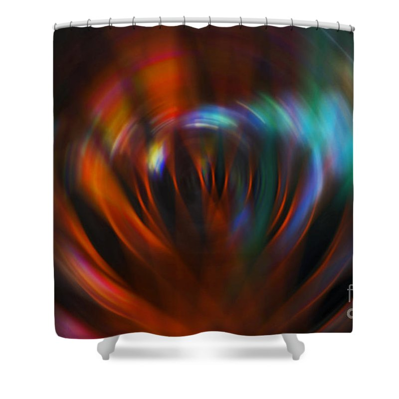 Red Shower Curtain featuring the photograph Abstract Red And Green Blur by Marvin Spates