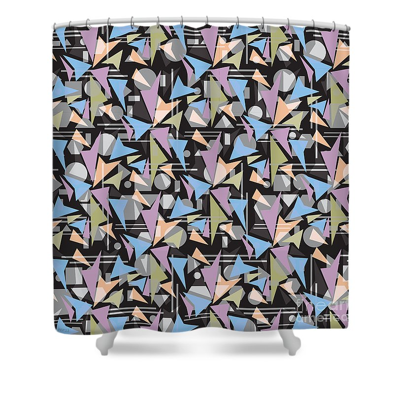 Abstract Shower Curtain featuring the digital art Abstract Shapes Collage by Phil Perkins